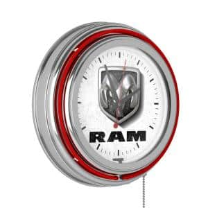 Neon Wall Clock Logo White and Red with Pull Chain-Pub Garage or Man Cave Accessories Double Rung Analog Clock