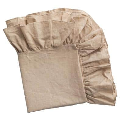 70 in. x 70 in. Square Natural 100% Pure Linen Washable Tablecloth with Ruffle Trim