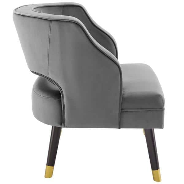 Gray Modway Traipse Button Tufted Open Back Performance Velvet Armchair