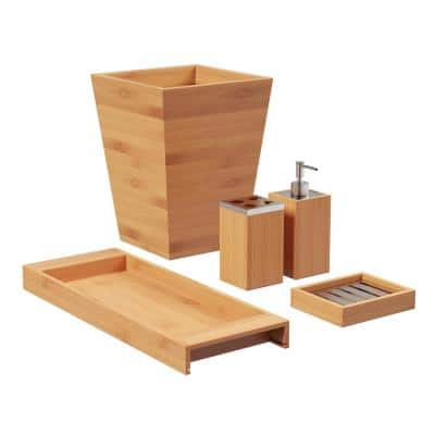 5-Piece Bamboo Bathroom and Vanity Set in Natural