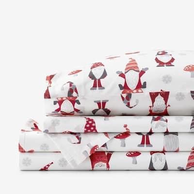 Company Cotton Gnomes 4-Piece Multicolored Cotton Percale King Sheet Set