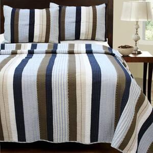 Sophisticated Stripe 3-Piece Navy Blue Brown Beige Tartan Plaid Cotton King Quilt Bedding Set