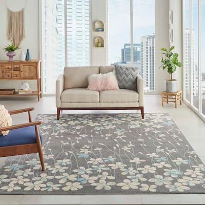 Tranquil Grey/Beige 9 ft. x 12 ft. Floral Modern Area Rug