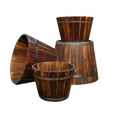20.5 in. Dia x 15 in. H Burnt Brown Wood Wine Barrel (Set of 4)