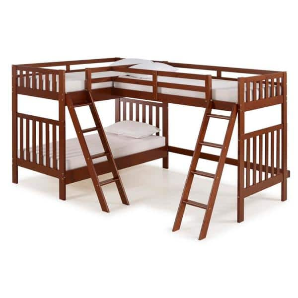 Alaterre Furniture Aurora Chestnut  Twin Over Twin Bunk Bed with Third Bunk Extension | The Home Depot
