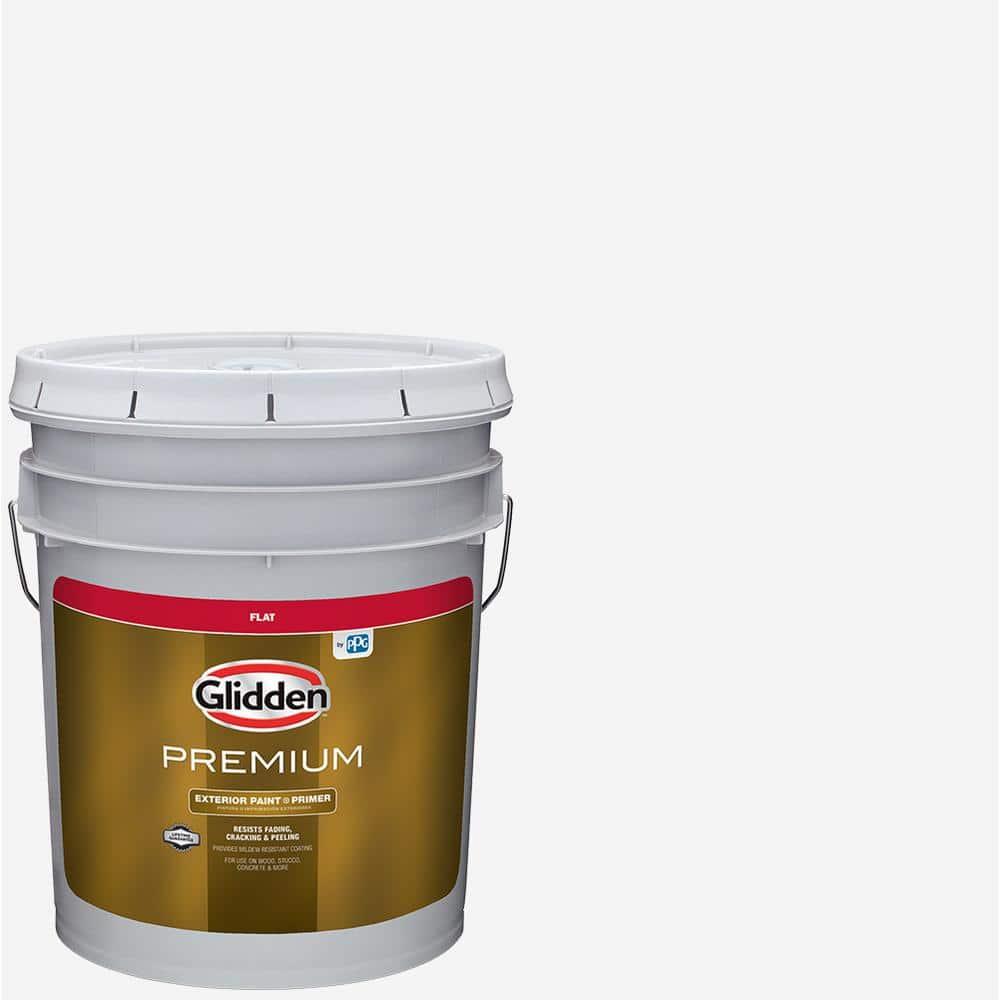 Glidden Premium 5 Gal Flat Latex Exterior Paint Gl6111 05 The Home Depot