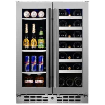 Transcend 24 in. 64 Can and 20-Bottle Seamless Stainless Steel French Door Dual Zone Built-In Beverage and Wine Cooler