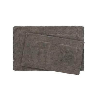 Ruffle Cotton Dark Gray 2-Piece Bath Rug Set