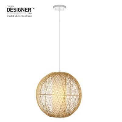 1-Light White Pendant with Natural Rattan Shade and Designer White Cloth Cord, Vintage Incandescent Bulb Included