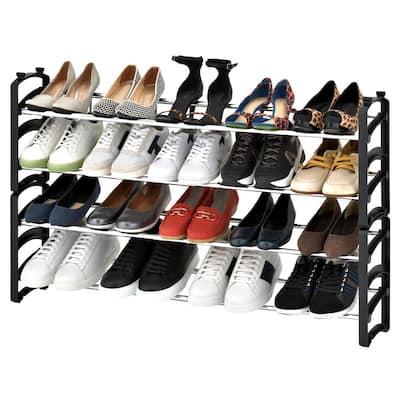 20-Pair 4-Tier Expandable Stackable Shoe Rack Organizer