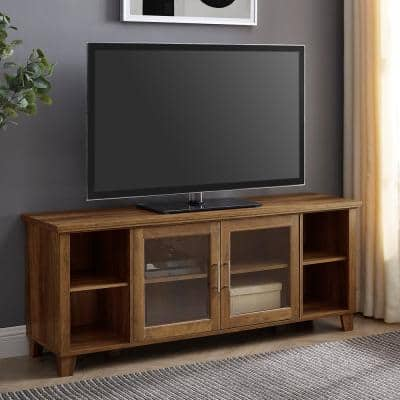 58 in. Rustic Barnwood Composite TV Stand 60 in. with Adjustable Shelves