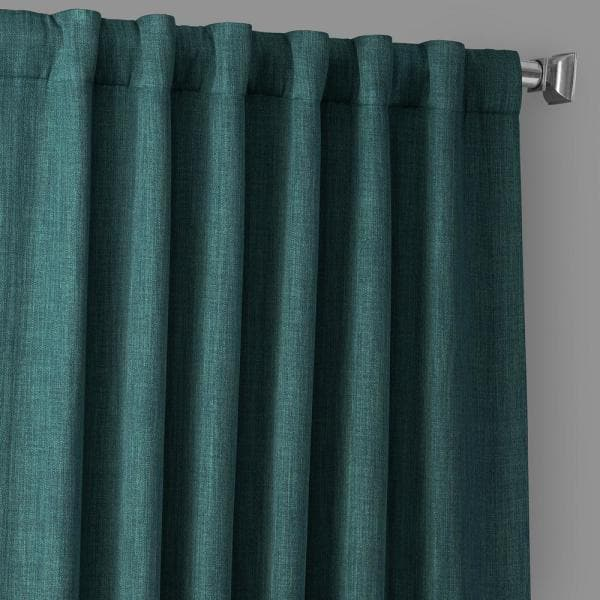 Exclusive Fabrics Furnishings Slate Teal Solid Rod Pocket Room Darkening Curtain 50 In W X 84 In L Boch Ln18523 84 The Home Depot