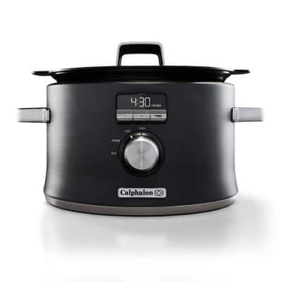 Digital Saut 5.3 Qt. Stainless Steel Programmable Slow Cooker with Automatic Keep Warm Function