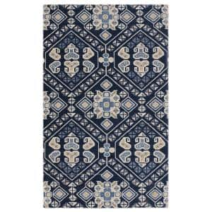 Geometric Navy 20 in. x 36 in. Polyester Anti-Fatigue Kitchen Mat