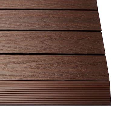 1/6 ft. x 1 ft. Quick Deck Composite Deck Tile Straight Fascia in California Redwood (4-Pieces/Box)
