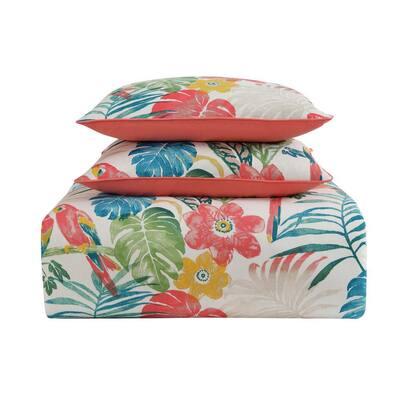 Coco Paradise 3-Piece Floral Cotton Duvet Cover Set