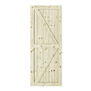 33 in. x 84 in. Artisan K Brace Unfinished Knotty Pine Interior Barn Door Slab