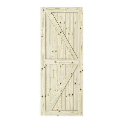 33 in. x 84 in. Artisan K Brace Unfinished Knotty Pine Interior Barn Door Slab