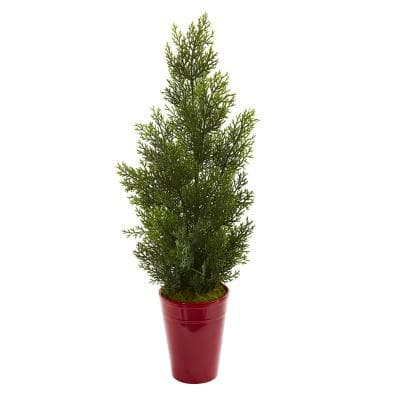 27 in. Indoor/Outdoor Mini Cedar Artificial Pine Tree in Decorative Planter