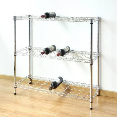 33 in. H x 36 in. W x 14 in. D 3-Tier Steel Wine Rack in Chrome