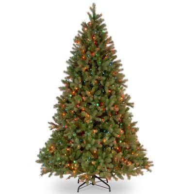 6.5 ft. Downswept Douglas Fir Artificial Christmas Tree with Multicolor Lights