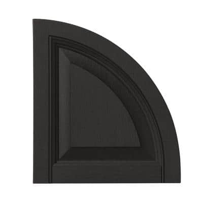 15 in. x 16-1/2 in. Polypropylene Raised Panel Arch Design in Peppercorn Shutter Tops Pair