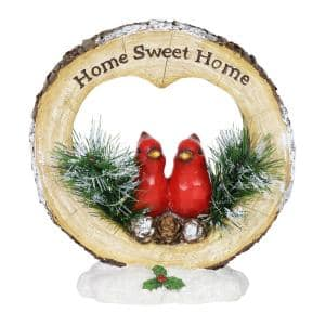 Home Sweet Home Christmas Cardinals with LEDs with Timer Garden Statue