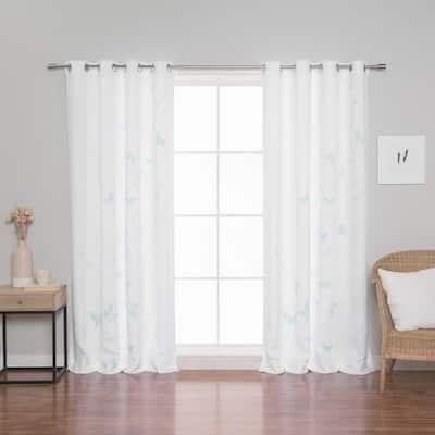 Mint Butterflies Butterfly Grommet Room Darkening Curtain - 52 in. W x 84 in. L (Set of 2)