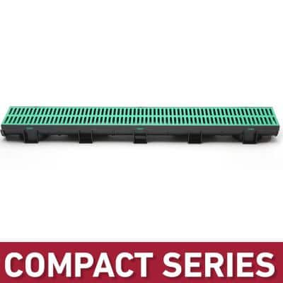 Compact Series 5.4 in. W x 3.2 in. D x 39.4 in. L Black Channel and Green Grate with Bottom Outlet