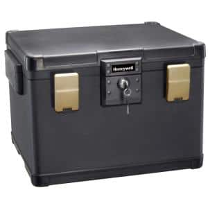 1.06 cu. ft. Molded Fire Resistant and Waterproof Legal Document Storage Chest with Key and Double Latch Lock