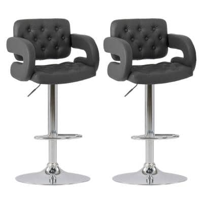 Adjustable Height Tufted Dark Grey Bonded Leather Bar Stool (Set of 2)