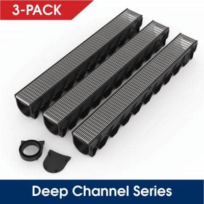 Storm Drain Series 5 in. W x 5.25 in. D x 39.4 in. L Channel Drain Kit with Architectural 316 Stainless Steel (3-Pack)