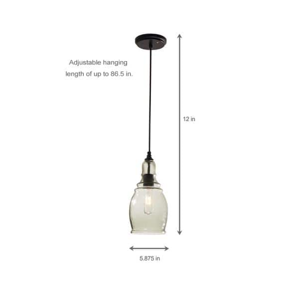 Home Decorators Collection Gardiner 1 Light Black Mini Pendant With Smoke Tint Glass Shade 17221 The Home Depot