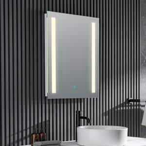 Mantra 24 in. W x 30 in. H Frameless Rectangular LED Bathroom Mirror with Defogger in Silver
