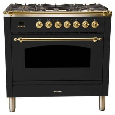 36 in. 3.55 cu. ft. Single Oven Italian Gas Range True Convection,5 Burners, Griddle, LP Gas, Brass Trim in Glossy Black
