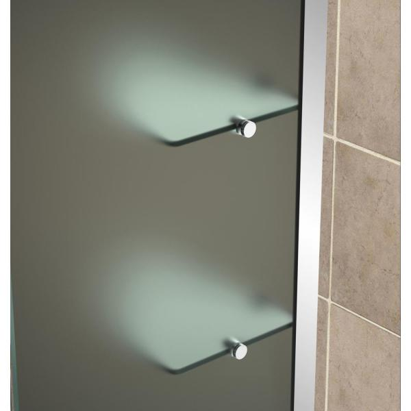 Aston Belmore Gs 71 25 In To 72 25 In X 72 In Frameless Hinged Shower Door With Frosted Glass And Glass Shelves In Chrome Sdr960f Ch 7238 10 The Home Depot