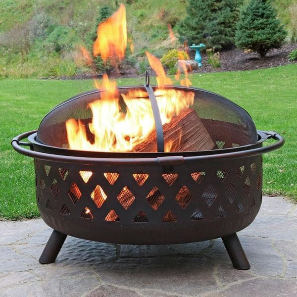 Sunnydaze Decor Cross Weave 36 In X 24 In Large Round Steel Wood Burning Fire Pit In Bronze With Spark Screen Kf 610037d The Home Depot