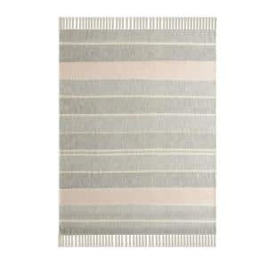 Simplistic Striped Blush / Gray Fringed Cotton Throw Blanket