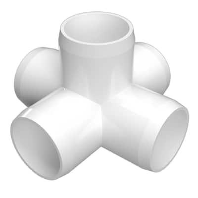 1/2 in. Furniture Grade PVC 5-Way Cross in White (10-Pack)