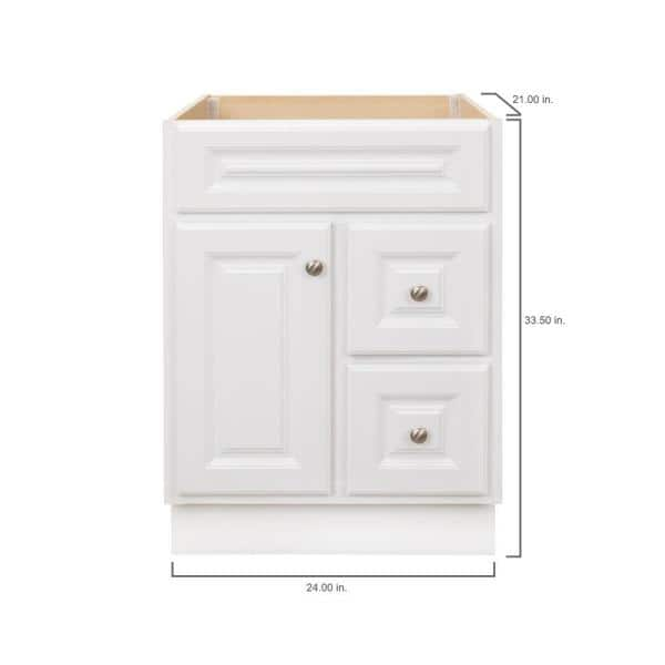 Glacier Bay Hampton 24 In W X 21 In D X 33 5 In H Bathroom Vanity Cabinet Only In White Hwh24dy The Home Depot