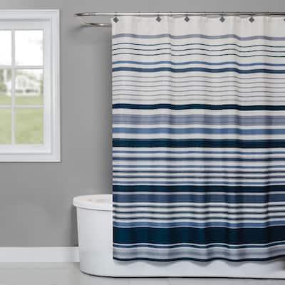 Cubes Stripe 72 in. Shower Curtain in Blue