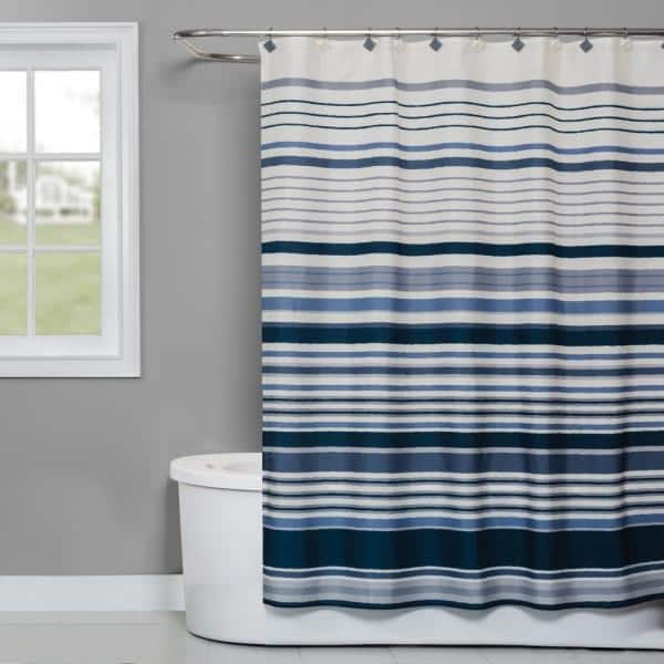 Saay Knight Cubes Stripe 72 In, Shower Curtains Gray And Blue