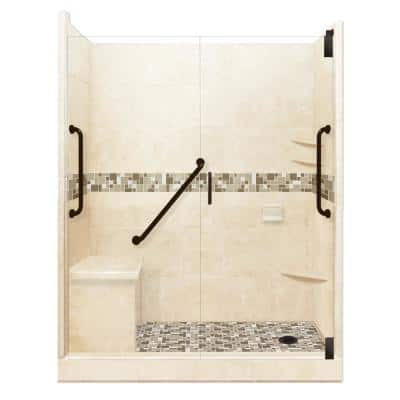 Tuscany Freedom Grand Hinged 34 in. x 60 in. x 80 in. Right Drain Alcove Shower Kit in Desert Sand and Old Bronze