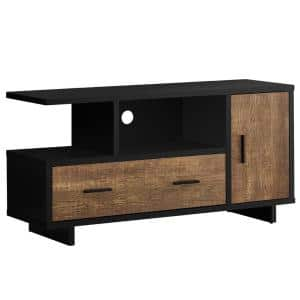 47 in. Brown Particle Board TV Stand with 1-Drawer Fits TVs Up to 47 in. with Storage Doors
