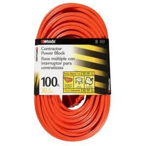 100 ft. 14/3 SJTW Multi-Outlet (3) Outdoor Heavy-Duty Extension Cord, Orange