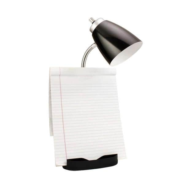 Limelights 18 5 In Gooseneck Organizer Desk Lamp With Ipad Tablet Stand Book Holder And Usb Port Black Ld1056 Blk The Home Depot