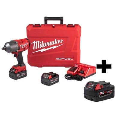 M18 FUEL 18-Volt Lithium-Ion Brushless Cordless 1/2 in. Impact Wrench W/ Friction Ring Kit W/ Free 5.0Ah Battery
