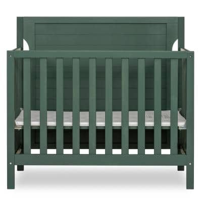 Bellport 4-in-1 Safari Green Convertible Mini/ Portable Crib I Mini Baby Crib I Includes 1.5 Mattress