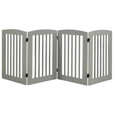 Ruffluv 36 in. H Wood 4-Panel Expansion Grey Pet Gate