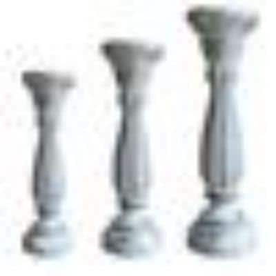 Distressed White Handmade Wooden Candle Holder with Pillar Base Support (Set of 3)